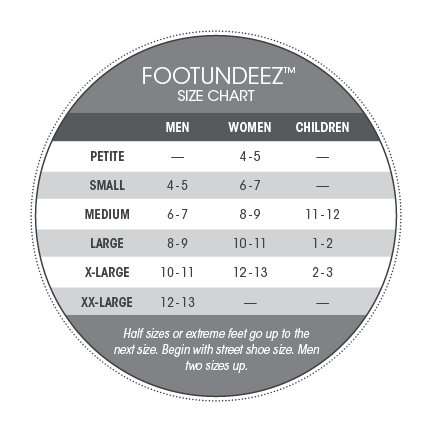 Footundeez Pirouette Size Chart